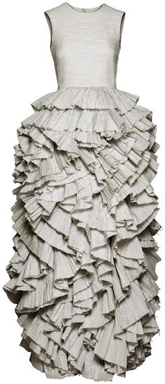 Fabric Manipulation for fashion - beautifully ruffled dress with layered textures; 3D textiles; wearable art