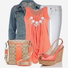 Stylish Outfit Coral With White Pant And Jeans Jacket