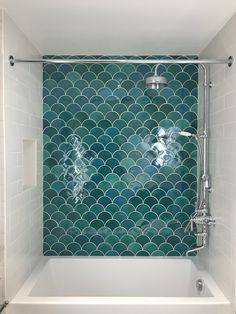 Moroccan Fish Scale Tiles - 11 Ways to incorporate your favorite Mermaid Shape! Green Fish Scale Til Bathroom Renos, Bathroom Wall Decor, Bathroom Colors, Bathroom Interior Design, Bathroom Renovations, Bathroom Furniture, Modern Bathroom, Small Bathroom, Green Bathroom Tiles