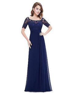 Women Elegant Half Sleeve Bridesmaid Long Evening Party Formal Prom Dress 08793