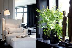 ElisabethsBorg.blogspot.com: Kontraster.... Sofa, Couch, Feng Shui, Curtains, Contemporary, Living Room, Table, Furniture, Home Decor