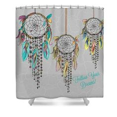 Dream Catcher Curtains Shower CurtainPeacock Blue Boho Chic 19