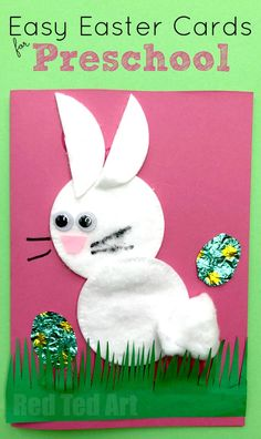 Easy Easter Cards for Preschool! Make these cute Cotton Wool Bunny Cards for Easter. Perfect for Toddlers and Preschoolers #preschool #toddler #easter #bunny