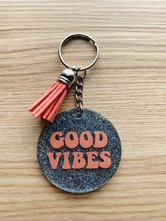 Excited to share the latest addition to my #etsy shop: Good Vibes Keychain, Acrylic Keychain, Glitter, Blue, Coral