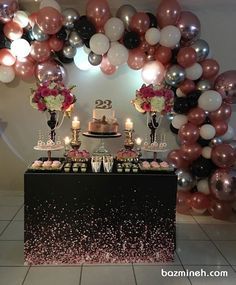 Floating candle with tulips centerpiece Birthday Party Decorations For Adults, Balloon Decorations Party, 30th Birthday Parties, 25th Birthday Cakes, 21st Bday Ideas, Gold Party, Floating Candle, Sweet, Baby