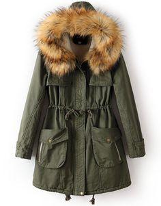 Army Green Faux Fur Hooded Drawstring Pockets Coat US$61.64