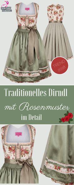 🌹Ein wunderschönes Dirndl mit glänzender Schürze in grün und tollen Rosenmuster auf Mieder und Borte. Dirndl sind so wunderschön!!!😍 #dirndl #kleid #krüger #fashion #tracht