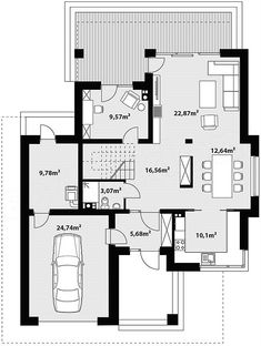 Rzut parteru projektu Korso Sims House Plans, Small House Plans, House Floor Plans, Minimal House Design, Minimal Home, Modern Family House, 2 Storey House Design, Beautiful House Plans, Planer