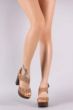 c5afee368138 Bamboo Nubuck Cutout Ankle Strap Platform Chunky Heel Chunky Heels