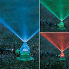 LED Sprinkler ~ Fairy Fun for little ones ~ Water from your garden hose creates hydraulic power to activate the LED lights in this novelty sprinkler.  The lights change through an array of colors: blue, violet, green, magenta, yellow and orange.