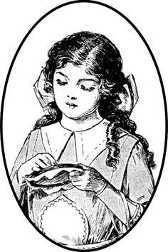free vintage sewing tags and sewing girl digital stamp – Vintage Etiketten Nähen – freebie | MeinLilaPark – digital freebies
