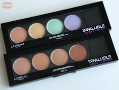 225 L'Oreal Infallible Total Cover Color Correcting Kit and 220 L'Oreal Infallible Total Cover Concealing and Contouring Kit $16.99 USD ($19.99 CAD) http://www.arzanblogs.com/2017/01/loreal-infallible-total-color.html  Shade Reference: MAC NC40/MAC NC42/Tan/Medium Deep/Tan/Brown Skin #swatches #colorcorrecting