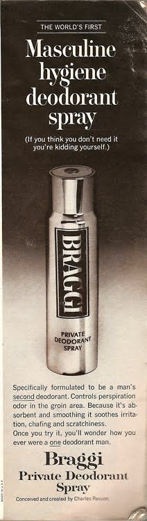 'Braggi', the Worlds First Sweaty Balls Deodorant, WTF! Funny Unintentionally Gay Vintage Advertising.