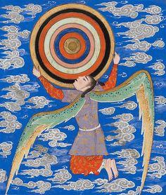 'The angel Ruh holding the celestial spheres'- Page from manuscript of Zakariya ibn Muhammad al-Qazwini 's The Wonders of Creation & Oddities of Existence (Arabic: 'Aja'ib al-makhluqat wa-ghara'ib al-mawjudat) - Western Iran, c. Celestial Sphere, Art Antique, Spiritus, Iranian Art, Medieval Art, Sacred Art, Illuminated Manuscript, Ancient Art, Islamic Art