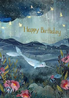 Greeting card from the Dreamland collection, illustrated by Kendra Binney – shoplaborde Happy Birthday Wishes For Her, Happy Birthday Art, Happy Birthday Wishes Cards, Happy Birthday Pictures, Birthday Fun, Birthday Cards, Happy Birthday Illustration, Grafik Design, Narwhals
