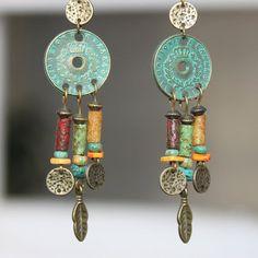 Boho orecchini bohemien orecchini gioielli penzolare ottone etnici Hippie Gypsy turchese verde orecchini Patina orecchini lampadario regalo per lei