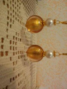 Orecchini con vetri di Murano e perle Swarovski