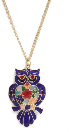 {Owl Say Necklace in Gold/floral}