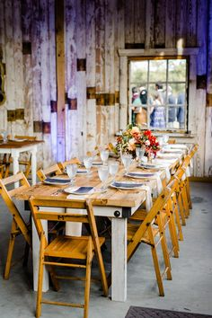 natural wood table modern barn wedding reception