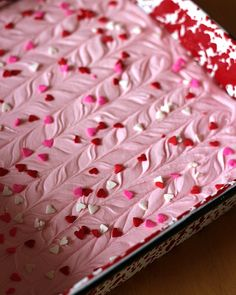 Two-ingredient strawberry fudge for Valentine's Day - Love the swirl she ran through it.