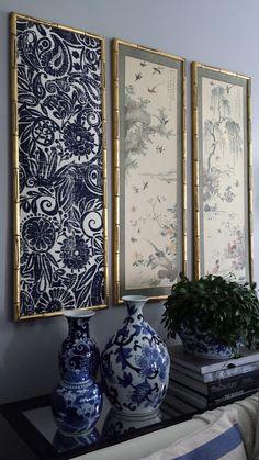 Focal point styling diy indigo wall art with framed fabric diy regarding id Diy Framed Wall Art, Framed Fabric, Fabric Wall Art, Hanging Wall Art, Frames On Wall, Wall Art Decor, Hanging Fabric On Walls, Fabric Frame, Diy Wand