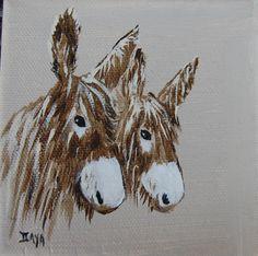peinture achetée à l'île de Ré- France, ânes du Poitou.
