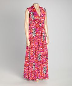 Look at this #zulilyfind! Pink Geometric Sleeveless Maxi Dress - Plus #zulilyfinds