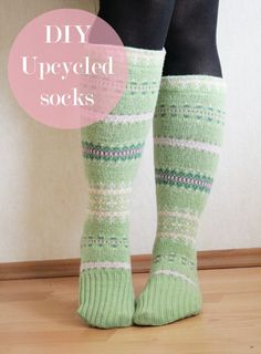 "I'm so excited to share this tutorial with you! The creation of these socks was like an ""ahaa"" moment. I have been trying to think of ways to upcycle sweater sleeves (I already know how to upcycled the body part) that I have left over from previous projects. And then, on a whim I put …"