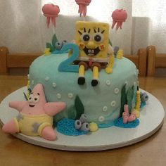 spongebob birthday cake.....I like this top with the 2 on it and than the cupcakes with the different faces that ill be sending you also but I want the colors more darker for example the blue and also Patrick.  maybe put his name underneath spongebob ANTHONY