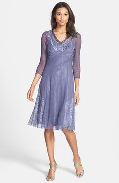 Free shipping and returns on Komarov V-Neck Chiffon Dress at Nordstrom.com. Sheer, lacy insets and charmeuse trim further the feminine look of a lightweight A-line dress cut from hand-pleated and hand-set chiffon that flatters the figure and travels well.