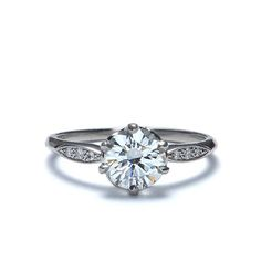 Front view of Edwardian Inspired Diamond Engagement Ring setting