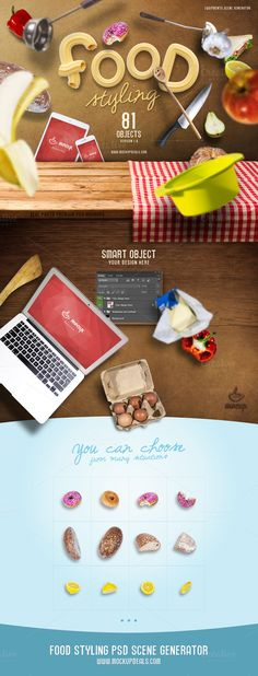 Food Styling PSD Scene Generator by Mocup, mockupdeals.com on Creative Market
