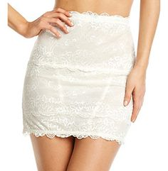 "Bridal Shapewear | Skinnygirl® by Bethenny Frankel Antique White ""Show Don't Tell"" Lovely Lace Shaping Half Slipm available at Herberger's."