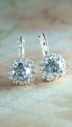 pale blue crystal earrings | something blue wedding jewelry | light blue crystal earrings | www.endorajewellery.etsy.com
