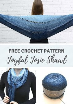 Joyful Josie Shawl – a round crochet shawl by – Best Handi Crafts Crochet Stitches, Knit Crochet, Easy Crochet Shawl, Crochet Wraps, Crochet Vests, Crochet Shirt, Crochet Motif, Shawl Patterns, Knitting Patterns