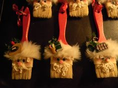 Debbie Stoltenberg's Santa ornaments made out of paintbrushes. #pinspirationparty Don't forget to pin pictures of the holiday decorations and crafts you've made, and link back to the original Pinterest pin you were inspired by. Use the hashtag #pinspirationparty so we can all find you!