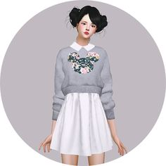 Sims 4 CC's - The Best: Knit Sweater One-Piece & A Dress & Heart Button Sh...