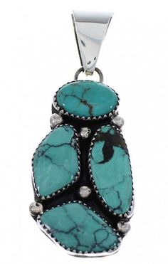 Native American Indian Turquoise Sterling Silver Pendant FX26077 http://www.silvertribe.com