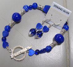 Colbalt Blue Heart  Bracelet and Earrings by BETTYSJEWELRYDESIGNS, $12.00