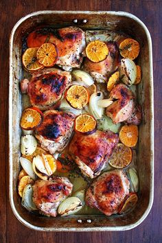 Roasted Chicken with Clementines. High heat for a long time allows the chicken skin to brown and the vegetables to caramelize beautifully. The liquid, a mixture of freshly squeezed citrus juice and some sort of anise-flavored liqueur (Arak, Ouzo or Pernod), keeps the chicken meat incredibly juicy below its crispy skin.