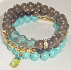 NEW-Turquoise Blue and Gold Plated Glass Bead Bracelet with Vintage Chartreuse Glass Charm