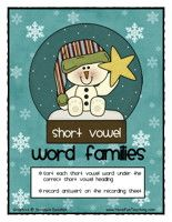 word-family-activity - free vowel famili, word families, shorts, phonics activities, famili wordsort, teacher, short vowel