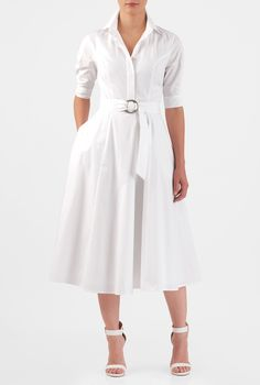 Our classic shirtdress is cinched softly with a two-ring tie belt and tailored to flare from the seamed waist.