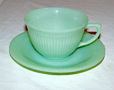 Anchor Hocking - Fire King - Jane Ray - Jadeite - Cup & Saucer Sets - Lot of 3