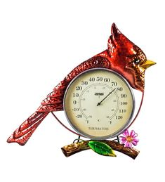 Revel in the rich red tones of a cardinal's feathers while keeping track of the temp with our Cardinal Outdoor Wall Thermometer. This preening presence offers beauty and utility. Simply hang and enjoy! The deep greens and blues of the body feathers match the pink dogwood flower and green leaf. The cardinal is constructed of powder coated outdoor safe metal. The body is made of a thermometer perfect for telling the temperature on humid summer days and blustery winter eves. Pink Dogwood, Dogwood Flowers, Cardinal Glass, Weather Instruments, Evergreen Garden, Glass Birds, Magnolia Homes, Garden Flags, Outdoor Walls