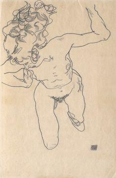 Egon Schiele, Liegende (»Stürzende«) mit langem Haar, 1917