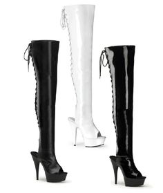"5 3/4"" Heel Lace Up Back Platform Open Toe Thigh High Boot - Each Pair"