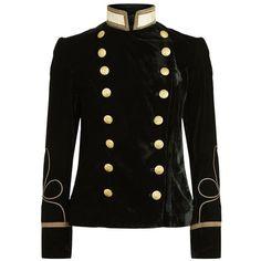Denim & Supply Ralph Lauren Velvet Military Blazer (€250) ❤ liked on Polyvore featuring outerwear, jackets, blazers, shiny jacket, military jacket, military style jacket, velvet jacket and military blazer