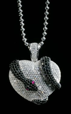 Snake and Heart Pendant - Theo Fennell © David Cantwell Photography Jewelry Necklaces, Jewellery, Bracelets, Snake Necklace, Anaconda, Jewelry Photography, Black Diamond, Reptiles, Diamond Jewelry