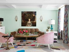 Mint green living room. Design: Fawn Galli.